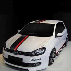 Car Styling for Car Dual Racing stripes Hood Roof Trunk Decals for POLO Vinyl Stickers Cool Car Stickers, Car Decals, Honda Cars, Vw Cars, Vw Polo Modified, Carros Bmw, Vinyl Wrap Car, Sports Decals, Bike Pic