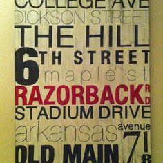 Street name art canvas by a great local artist! Www.shopriffraff.blogspot.com Or on Facebook: RiffraffFayetteville
