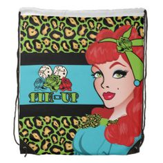 Pin-up Girl, Rock-A-Billy Drawstring Bag