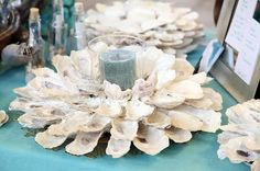 Handmade Oyster candle holder and centerpiece by WoodenWaterLLC