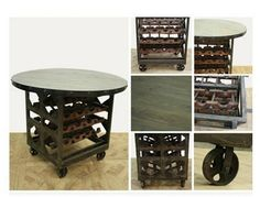 cool Manufacturing unit Wine RACK TABLE w rolling cart wheels wooden iron Classic Sty Check more at https://aeoffers.com/product/wine/manufacturing-unit-wine-rack-table-w-rolling-cart-wheels-wooden-iron-classic-sty/