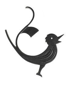 Flat wrought iron stylised bird with a curled tail, possibly a gate finial, made by the firm of Thomas Hadden, Edinburgh, 1920s.
