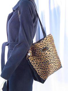 Carlos Falchi Leopard Velvet Brown Black Tote Shoulder Bag * #CarlosFalchi #ShoulderBagTote