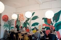Oversized plant mural, based on botanical illustrations, painted in emusion directly onto the cafe wall. Mural Cafe, Cafe Art, Mural Floral, Floral Wall, Mural Wall Art, Mural Painting, Painted Wall Murals, Ink Painting, Office Mural