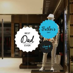 Father's Day Retail Display Sticker Set Removable Window Decals, Best Dad, Fathers Day, How To Remove, Packaging, Retail, Display, Stickers, Handmade Gifts
