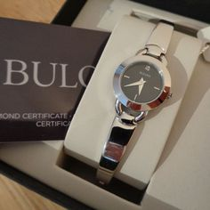 Bulova 96P155 - Ladies 'Diamonds' Black Dial Silver Bangle Watch. New