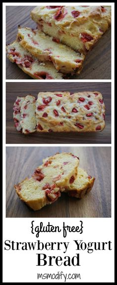 A delicious moist strawberry bread made with Greek yogurt and lemon zest… no one will ever know it's gluten free! This strawberry yogurt bread was love at first