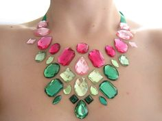 Floating watermelon inspired rhinestone statement necklace by Sparkle Beast Designs.