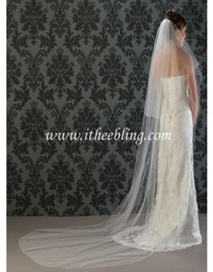 "Illusions Bridal Veils Cathedral Length Bridal Veil With Pencil / Corded Edge -  2 Layer - 108"" Long - C7-1082-C"