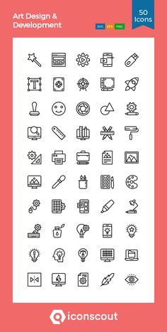 Art Design & Development Icon Pack - 50 Line Icons Art Design, Icon Design, Download Art, Graphic Design Fonts, Vector Format, Line Icon, Icon Pack, Icon Font, Printed Materials