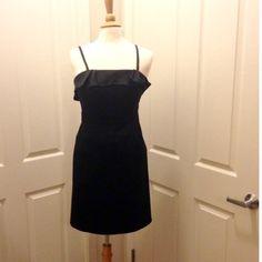 BCBG Black Satin Dress Beautiful black satin dress by BCBG Paris. Spaghetti straps. Good condition!!  BCBG Dresses