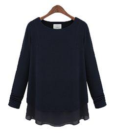 Autumn Fashion Pure Color Elegant Long Sleeve Blouse Black Blue Light Grey