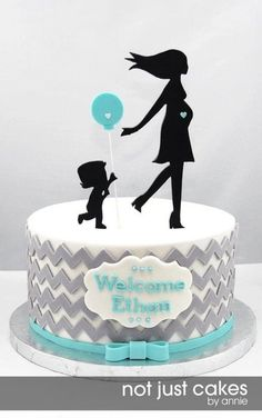 Chevron and Balloon Baby Shower Cake