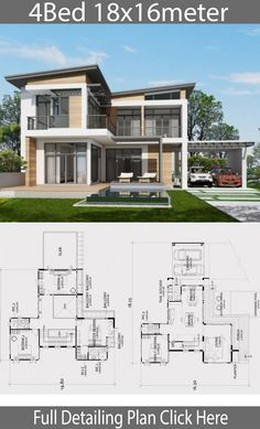 Home design plan with 4 bedrooms. Two-story house Modern Contemporary style Lay out the building layout So that every room can ventilate well. Building Layout, Home Building Design, Home Design Plans, Model House Plan, My House Plans, 4 Bedroom House Designs, Bedroom House Plans, House Front Design, Modern House Design