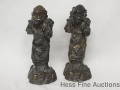 Pair Signed Stamped Antique Japanese Silvered Gilt Metal Bronze Spelter Statues