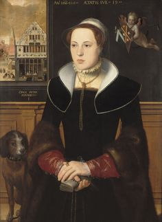 Portrait of Jacquemyne Buuck, age 19 holding a pair of gloves (by Pieter Pourbus ) 1551 - a cupid holds two coats of arms - so it could be a betrothal portrait (?) - incredible detail
