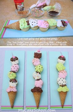 Adorable idea for cupcakes. cupcakes made to look like an ice cream cone. great for ice cream theme party Ice Cream Cupcakes, Ice Cream Party, Cute Cupcakes, Ice Cream Cone Cake, Party Cupcakes, Themed Cupcakes, Icecream Cone Cupcakes, Cute Cupcake Ideas, Summer Cupcakes