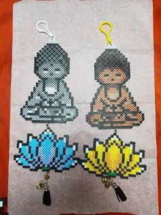 Buddha and lotus Perler Beads, Perler Bead Art, Fuse Beads, Melty Bead Patterns, Pearler Bead Patterns, Perler Patterns, Beading Patterns, Peyote Patterns, Quilt Patterns