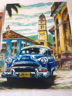 #Cuban #art Cuban Cars, Havana Nights Party, Cuban Culture, Soul Art, Mid Century Art, Havana Cuba, Tropical Art, Automotive Art, Car Painting
