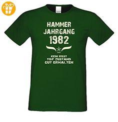 Geschenkidee zum 35. Geburtstag :-: Geschenk Herren Geburtstags-Sprüche-T-Shirt mit Jahreszahl :-: Hammer Jahrgang 1982 :-: Geburtstagsgeschenk für Männer :-: Farbe: dunkelgrün Gr: L (*Partner-Link)