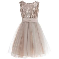 Little Wardrobe London - Sequin Tulle Dress ($255) ❤ liked on Polyvore featuring dresses, embellished dress, sequin embellished dress, tulle dress, brown cocktail dress and holiday dresses