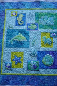 Pieced by Deanna. Quilted by Jessica's quilting studio Longarm Quilting, Free Motion Quilting, Machine Quilting, Ocean Quilt, Beach Quilt, Fish Quilt Pattern, Quilt Patterns, Paisley Pattern, Sea Turtle Quilts