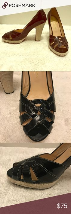 """Cole Haan heels Classic black patent leather 4"""" size 7.5 Cole Haan heels. These are beauties. They need a new home and once again highlight my shopping addiction. I wore them twice. There's a barely noticeable scratch on the patent leather near the back heel (its pictured, but I honestly don't even think you can see it!) Make these your own! Reasonable offers always accepted! Cole Haan Shoes Heels"""