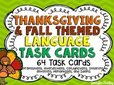 Thanksgiving and Fall Language Task Cards {4th and 5th Grade}