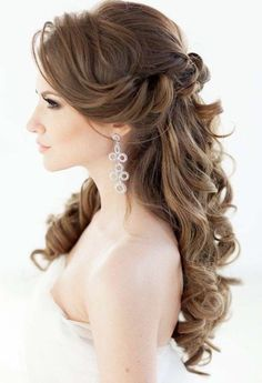 Elegant half up half down wedding hairstyle with divine curls; Featured Hairstyle: Elstile