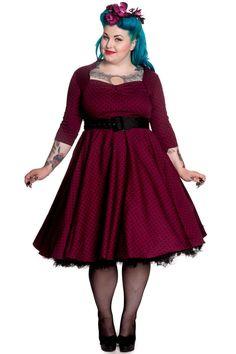 Hell Bunny Momo Burgundy Dress - Plus Size Retro Rockabilly Swing 50's Pin up