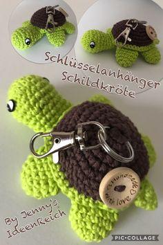 Turtle Keychains, crochet pattern, amigurumi by jennysideenreich Crochet Gifts, Cute Crochet, Crochet Dolls, Crochet Baby, Knit Crochet, Amigurumi Patterns, Knitting Patterns, Crochet Patterns, Easy Knitting
