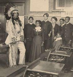 louisfiretailhampton-copy.jpg (492×523) Louis Firetail (Sioux, Crow Creek), wearing tribal clothing while presenting to an American history class at Hampton Institute, Hampton, Virginia, c. 1900.