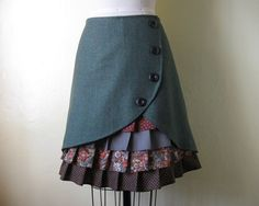 RESERVED FOR ALEXA Woodsy Winter ruffle front skirt. $77.00, via Etsy.