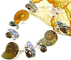 "$149 Awesome**Fossil Ammonite, Biwa Pearl, Smokey Topaz, French Pearl Necklace & 925 Silver;  Necklace Sz:17""~18.5"",  Center Necklace drop: 1 1/2 "" Faceted pear cut smoky topaz gemstones."