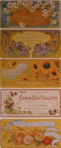 Old fashioned French perfume label stickers for Easter card making