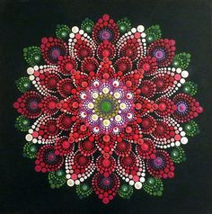 Red Dahlia Mandala painting on canvas
