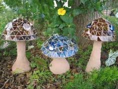 Cement n Mosaic Mushrooms by lyndalu_fla, The bases are bud vases, covered in tinted concrete, then use various items including bowls as mol...