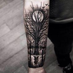 40 Tief und super cool Wald Tattoo-Ideen # Wald # Ideen - Tattoo Ideas - DIY Garden Flower - Cute Home Decorations - Red Hair Styles - DIY Hoop Errings Forest Tattoo Arm, Tree Tattoo Arm, Forest Tattoos, Tattoo Moon, Full Moon Tattoos, Night Tattoo, Tattoo Feather, Tattoo Bird, Trendy Tattoos