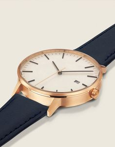The Minimalist, 34mm, Rose Gold/Navy A nautical yet feminine look that complements any style beautifully