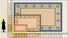 """Did you know? After a rug reaches eight feet by ten feet in size, it is considered a """"carpet."""" Nine by eleven is another popular carpet size. After a carpet exceeds 14 by 24 feet, it is then called a """"palace carpet."""" If you want to purchase a carpet-size rug that covers almost the entire surface area, measure carefully to ensure that the rug doesn't touch or ride up onto the baseboards."""