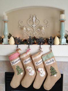Burlap stocking. Family set of stockings. by LindseyLeeandCo