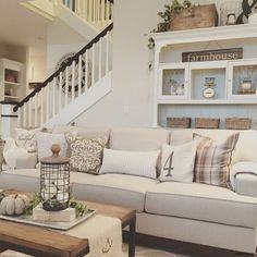 35 Rustic Farmhouse Living Room Design and Decor Ideas for Your Home. Relaxed Livingroom with Folksy Display Hutch. Living Room Paint and Decor Design Living Room, Home Living Room, Living Spaces, Small Living, Cozy Living, Living Area, Living Room With Stairs, Design Room, Living Room Hutch