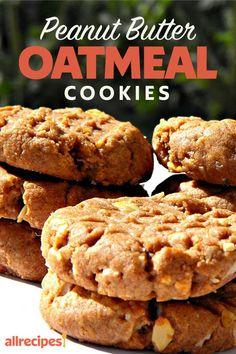 "Peanut Butter Oatmeal Cookies | ""These cookies were soooooo good!"" #cookies #cookierecipes #bakingrecipes #dessertrecipes #cookieideas Cookie Cake Pie, Cookie Desserts, Dessert Recipes, Peanut Butter Oatmeal, Peanut Butter Recipes, Oatmeal Cookie Recipes, Oatmeal Cookies, Cowboy Cookie Recipe, Elegant Cookies"