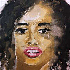 Black woman Curley hair dark hair red lips face beautiful open mouth watercolor painting