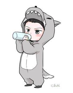 Sehun the Baby Wolf << I want this as a pin! Exo Cartoon, Baby Cartoon, Kpop Exo, Sehun Chibi, Exo Stickers, Exo Anime, Sehun Cute, Exo Fan Art, Exo Luxion