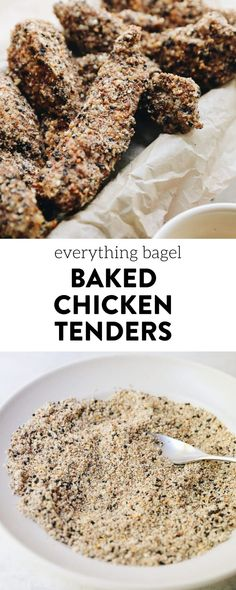 A fun twist on a childhood classic, these everything bagel baked chicken tenders will quickly become a family favorite. They come together in under 30 minutes with just 5 ingredients and 3 easy steps. You'll never buy store-bought chicken fingers again! #everythingbagel #chickentenders #chickenfingers #grainfree #glutenfree