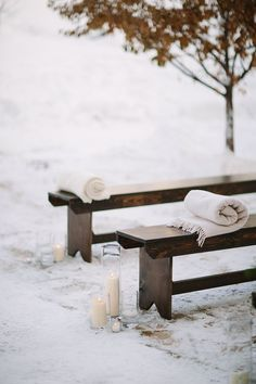 Rustic benches, variety of candles- outdoor winter wedding ceremony at Beaver Creek Park Hyatt Resort & Spa. Cat Mayer Studio. Stonewood Vintage.