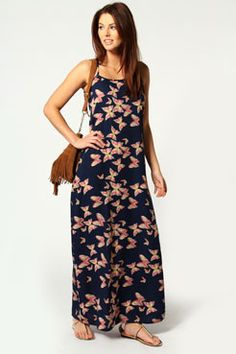 Maddy American Crepe Butterfly Strappy Maxi Dress