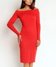 Love this Red Off-Shoulder Dress on #zulily! #zulilyfinds