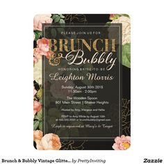 Brunch & Bubbly Vintage Glitter Floral Shower 5x7 Paper Invitation Card